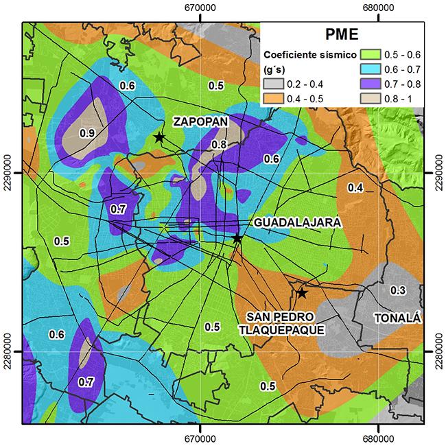 Mapa de coeficientes sísmicos para la ZMG